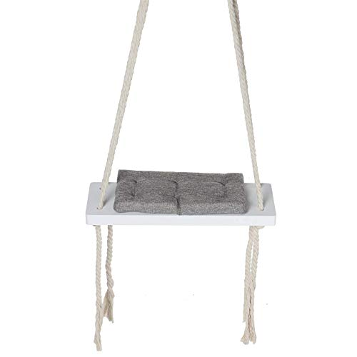 Zjcpow Silla colgante para niños, silla oscilante de seguridad, silla mecedora de madera, con cojín para interiores y jardín (tamaño: tamaño libre; color: gris)