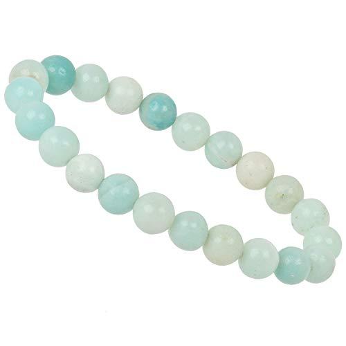 ELEDORO PowerBead Damen-Armband Stretch aus Edelstein Perlen 8 mm 17-18 cm mit Amazonit Multicolor