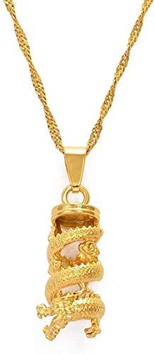LKLFC Collar Mujer Collar Hombre Collar Dragón Colgante Collares para Wogirl Joyería de Estilo Chino Adornos de dragón Símbolo de la Suerte Chino 45Cm Colgante Collar Niñas Niños Regalo