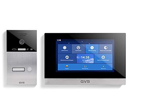 GVS 4-Draht/IP Video Türsprechanlage, Aufputz-Türstation IP65 mit RFID, 1x 10 Zoll Monitor, App, HD-Kamera 120°, Türöffnerfkt, 32GB Speicher, PoE-Switch, 1 Familienhaus Set, AVS4055A