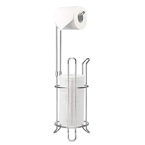 Topsky Toilet Paper Holder, Free Standing Toilet Tissue Paper Roll Storage Holder for Bathroom Storage (Silver)