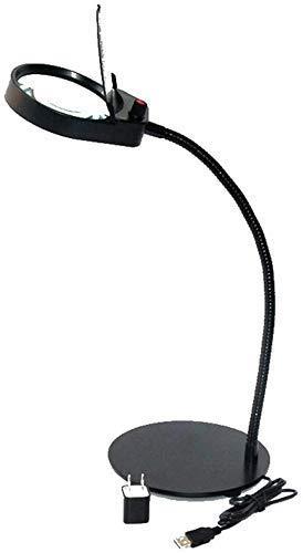 Handig en praktisch Desktop Vergrootglas met licht Lens Diameter 100mm Portable Reading Repair LED verlichting 5x Zwarte Magnifier WKY QIANGQIANG