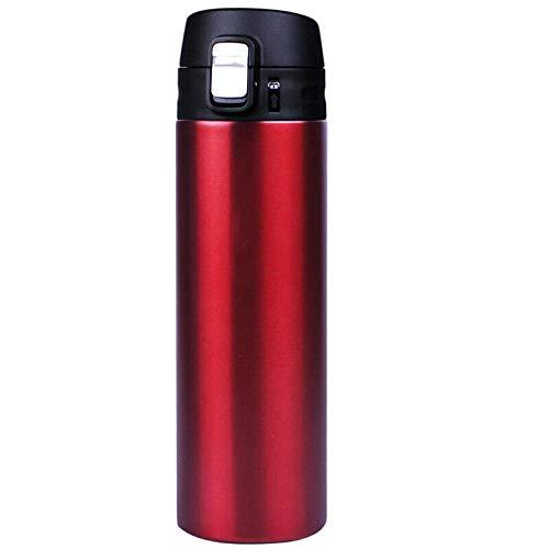 Yumanluo Cantimplora Termo con Doble Aislamient,Taza 500ML-red_500ml,Botella de Agua Acero Inoxidable