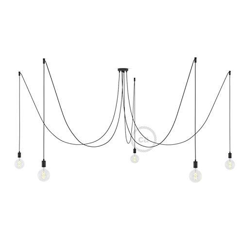 Spider - Suspension Multiple 5 Bras fabriquée en Italie, avec câble Textile et Finitions métalliques - sans Ampoule, Noir