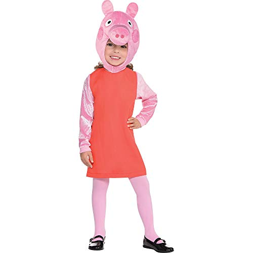 Costumes USA Peppa Pig Costume for Girls, Size Small, Includes a Dress, a Plush Hood with Peppa's Face, and Tights