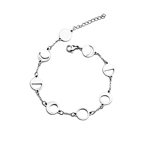 Phase of The Moon Bracelet Lunar Cycle Bracelet Goddess Celestial Jewelry (Silver)