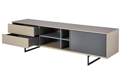 TV-Schrank TITRAN modernes TV-Lowboard in Taupe Beige hochglanz & anthrazit grau matt, mal kein weiß oder schwarz, 180 x 42 x 50 , Fernsehschrank inkl Lieferung und Montage! - 2