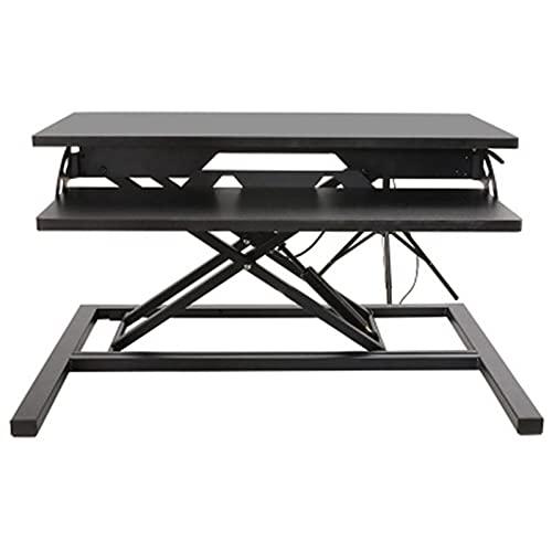 Maoviwq Mesa de pie ajustable plegable para computadora portátil con mango Siéntate soporte de doble uso para escritorio de pie convertidor de escritorio