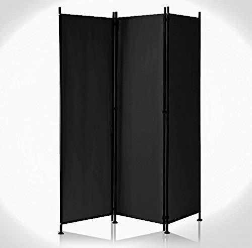 IMC Paravent 3-teilig schwarz Raumteiler Trennwand Sichtschutz, faltbar/flexibel verstellbar, wetterfester Polyester-Stoff, Schwarze Metallstangen