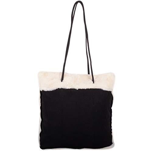 Damen Handtasche / Schultertasche aus Kunstfellimitat, Schwarz - Schwarz - Größe: Einheitsgröße
