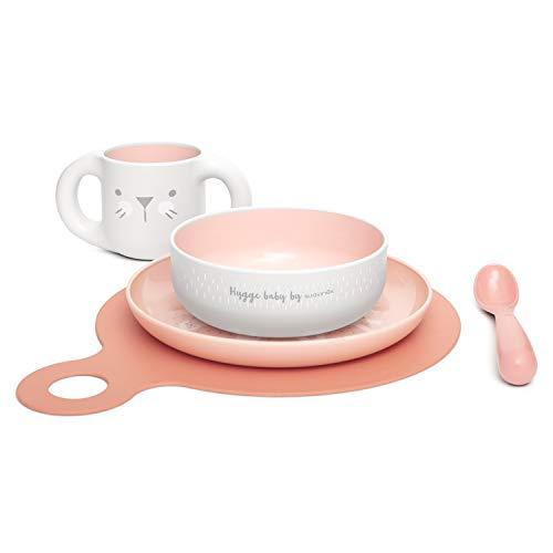Suavinex - Set Vajilla Aprendizaje BOOO (Taza, Plato, Bol, Cuchara y Mantel). Vajilla Bebés +6 Meses. Apto Para Microondas y Lavavajillas, Color Rosa