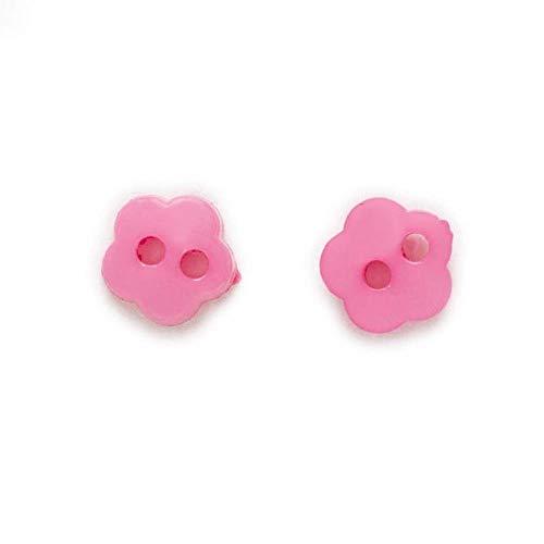 100 Uds 6mm Multicolor de un solo color opcional 2 agujeros flor Mini botones costura Scrapbooking decoración fabricación de tarjetas DIY-Fucsia