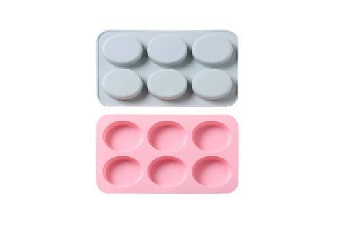 Juego de 2 6 Cavidades Molde de pastel de silicona ovalado Molde de jabón hecho a mano Molde de jabón frío Molde para hornear pastel de arroz DIY (Blue+Pink)