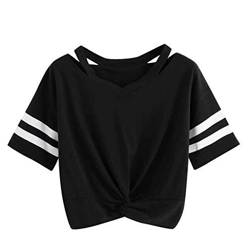 WHSHINE Damen T-Shirt, Sommer Mode Einfarbig Kurzarm Verknotet Rundhals T-Shirt Hemd Tops Mädchen Freizeit Oberteile Kurz Damentop Crop Top