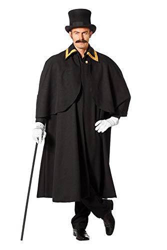 shoperama Premium Herren Kutscher Umhang lang Schwarz/Gold Mantel Cape Halloween Steampunk, Größe:56
