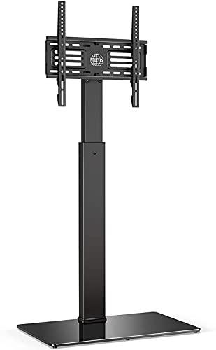 QUERT Soporte Giratorio de Suelo para TV para Pantallas Planas Curvas de Plasma LCD OLED LED de 27'a 55' Alturas Ajustables con Cable de Base de Vidrio Templado de 8 mm