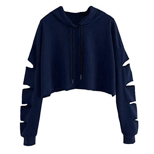 Shujin Damen Straße Schulterfrei Pullover Distressed Cropped Top Kurz Sweatershirt Cut Out Hohle Loch Langarmshirt Bauchfrei Hoodie Crop Jumper (M/EU 38, Schwarzblau mit Kapuze)