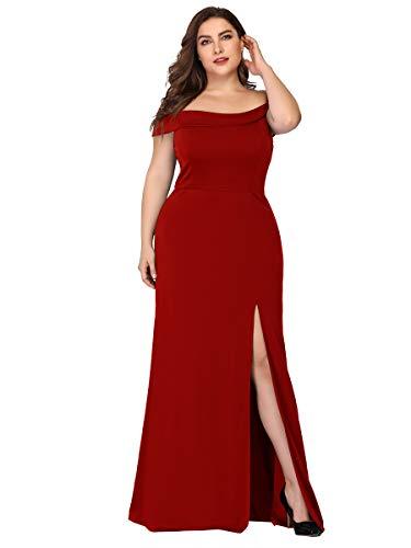 Ever-Pretty A-línea Vestido de Fiesta Abertura Talla Grande Sin Tirantes para Mujer 07952