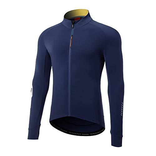 LINGYUN Men's Cycling Jackets Long Sleeve Cycling Suits, Reflective and Breathable Cycling Jersey, Full Zipper Mountain Bike MTB Shirt Bike Tops Spring,WM0C01113N,L