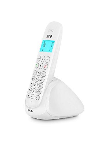 SPC Art - Teléfono inalámbrico con agenda, manos libres e identificador de llamadas – Color Blanco