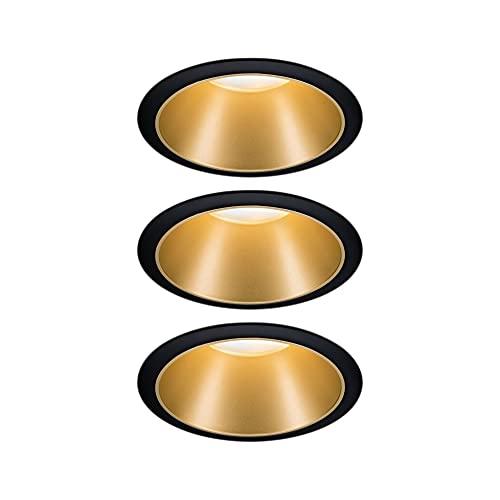 Paulmann 93404 LED spots encastrés Cole rond incl. 3x6,5watts gradable projecteurs encastrés Noir, Doré mat Lampe encastrée plastique, Alu zinc spot pour plafond 2700K