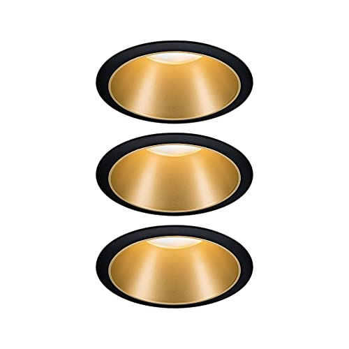 Paulmann 93404 Luminaria empotrable LED Cole redonda incl. 3x6,5 W, foco empotrable regulable, negro, oro mate, lámpara empotrable, plástico, aluminio zinc, foco de techo 2700 K