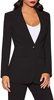 Beyond Travel Women's Wrinkle-Resistant Classic One-Button Solid Color Boyfriend Knit Blazer