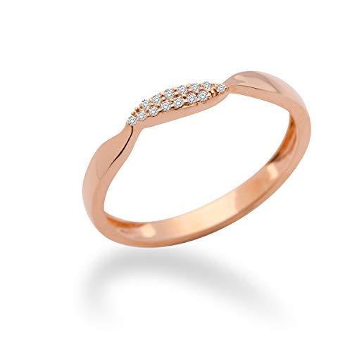 MIORE MF9011RRO - Anillo de oro rosa de 9 quilates con diamante (.05), talla 14 (17,2 mm)