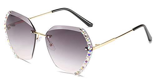 CRETUAO Gafas de Sol para Mujeres, Gafas de Sol Retro sin Marco reflejadas con Diamantes, para Conducir, Viajar, Desgaste Diario,Gris