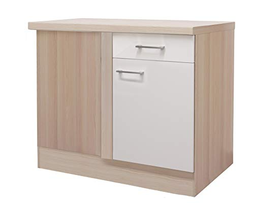MMR Küchen-Eckunterschrank DERRY - Eckschrank - Unterschrank - 1-türig - 1 Schublade - Breite 110 cm - Perlmutt Weiß