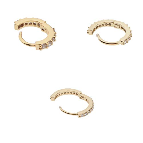 MagiDeal 3pcs Vintage Ladies Round Huggie Pendientes Zircon Ear Studs Jewelry