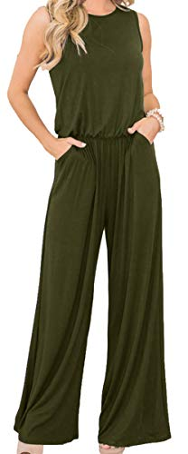 Longwu Women's Sleeveless Jumpsuits Loose Wide Legs Casual Overall Playsuits with Pockets ArmyGreen-L