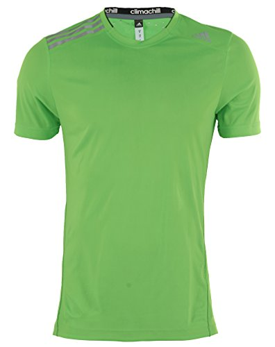 adidas Climachill Short Sleeve T-Shirt US Men's Extra Large (SolarGreen/NightGrey)