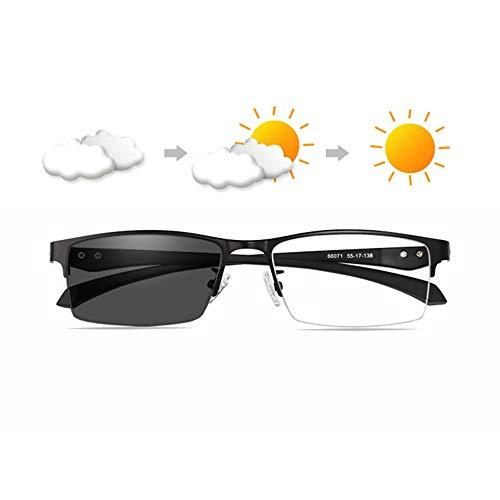 MANG Herren Halbrandbrille Lesebrille Bifokale Gleitsichtbrille Selbsttönende Lesehilfe Blaulichtfilter Sehstärke Brille Blendfrei Entspiegelt