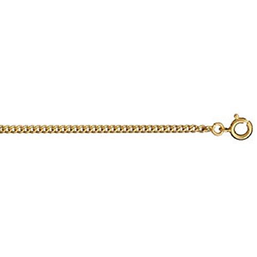 FranceBijoux - Collana a catena da uomo, placcata oro, lunghezza 50 cm, larghezza di 2,1 mm, maglia piatta gourmette