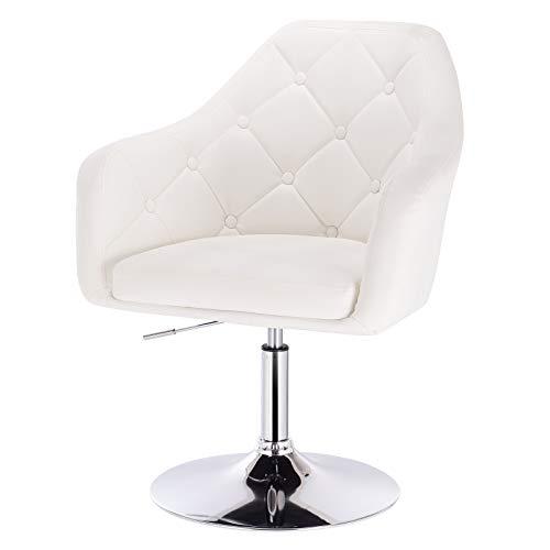 eSituro SBST0291 1 x Bar Sessel Barhocker Loungesessel Relaxsessel, höhenverstellbar & 360° drehbar, mit gepolsterter Rückenlehne, aus hochwertigem Kunstleder, Weiss