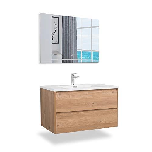 GOOM Conjunto de Muebles de baño, Lavabo con Mueble bajo y Espejo de baño Opcional. Lavabo con Mueble bajo en Las Dimensiones: 600, 900, 1200mm. También Disponible como Lavabo Doble con Mueble bajo