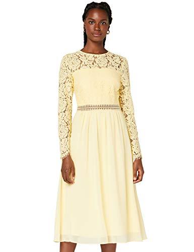 Amazon-Marke: TRUTH & FABLE Damen Midi A-Linien-Kleid aus Spitze, Gelb (hellgelb), 44, Label:XXL