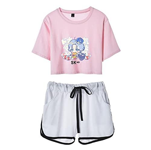 SK8 The Infinity T-Shirt + kurzes Set, zweiteiliges Set Anime Japanese Sportswear Sommerkleidung für Damen
