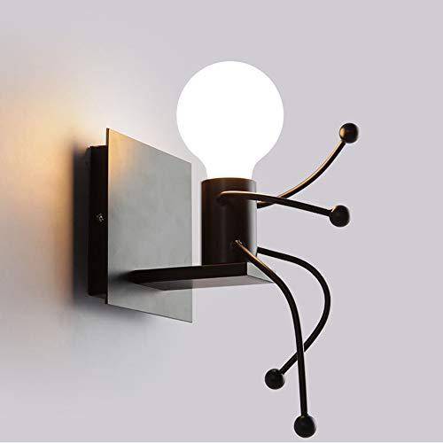 Humanoide Creativo Lámpara de Pared Interior Luz de Pared Moderno Apliques de Pared Art Deco Max 60W E27 Base para Niños, Dormitorio, Escaleras, Cocina, Pasillo,Restaurante,Negro Lámparas de pared
