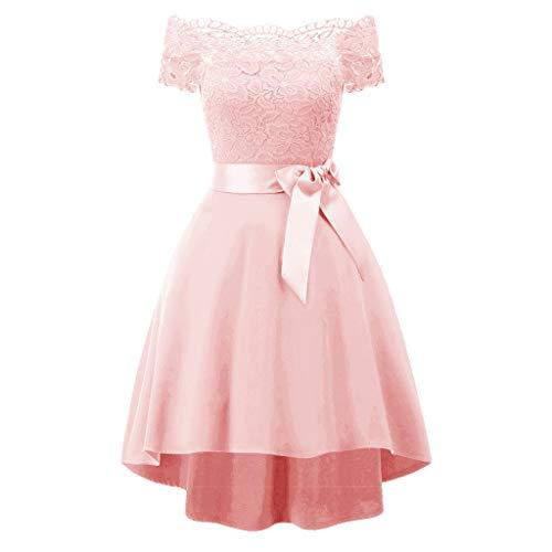 Allence Damen Elegant Abendkleid Cocktailkleid Schulterfreies Knielang Festlich Kleider Spitzenkleid Brautjungfernkleid