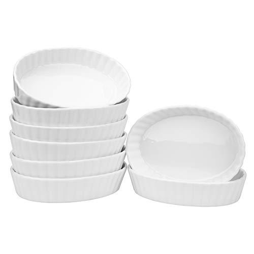 Foraineam Set of 8 Pieces Porcelain Ramekins, 6 Ounce Oval Creme Brulee Ramekin Dishes 6 x 4-1/4 x 1-1/4 Inch Baking Ramekins Set