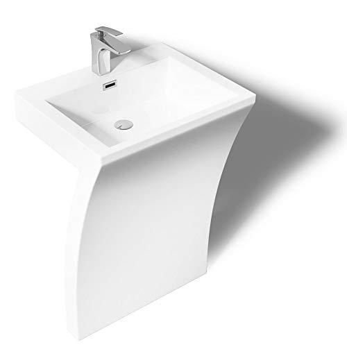 Standwaschbecken Eckig Design Standwaschtisch Col07 Weiss Gussmarmor Design Waschplatz Waschsäule Standsäule