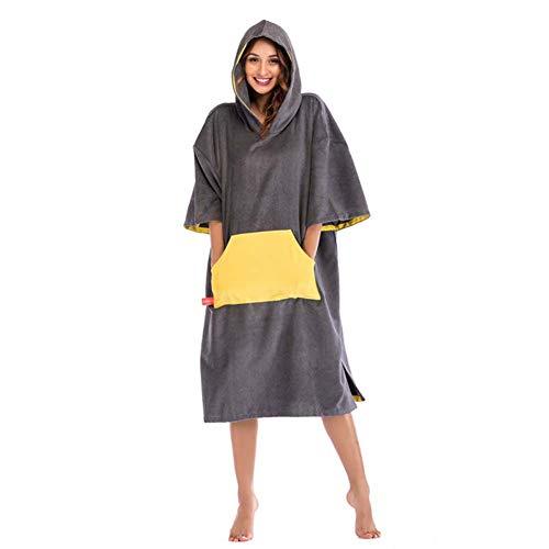 ELEAMO Unisex strand surfen winter zwemmen gewaad licht gewicht wetsuit bank deken veranderen handdoek Poncho met kap een maat fit alle