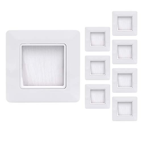 VCE 8 Unidades Placa de pared con cepillos pasacables pared,Embellecedor para la entrada y salida de cables - Blanco 49mm x 49mm interior