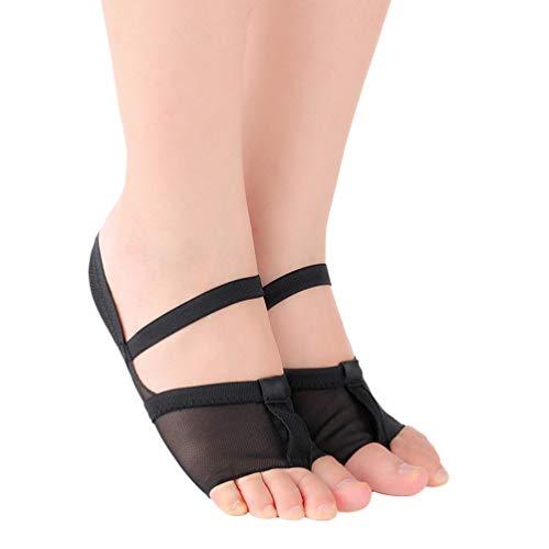 EXCEART ヨガソックスソフトバレエソックスヨガつま先保護靴フットカバーダンス体操-サイズ38(黒)