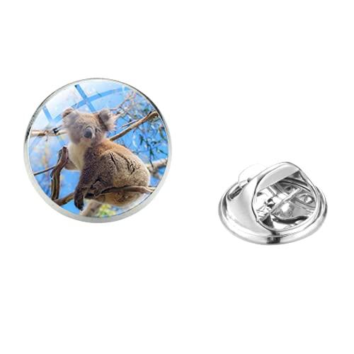Nature Koala Bear Art Photo Lapel Pins hecho a mano de cristal cúpula mariposa broche broche para amante de los animales joyería decorativa