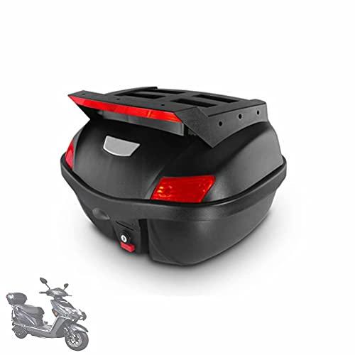 HGTRH Maletas Moto De Quita y Pon, Cofre Moto Universal, Baul para Moto con Respaldo, 44.5 * 44 * 29cm - 29 L Cajon Moto, BaúL Moto Negro para Motocicleta Ciclomotores Scooter