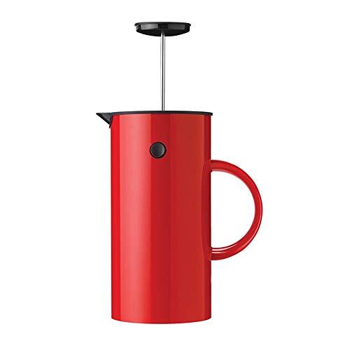 Podwójnie izolowany ekspres do kawy gospodarstwo domowe styl nordycki francuski filtr zbiornik ciśnieniowy 1 l francuski pojemnik ciśnieniowy dzbanek do kawy ręczny ekspres do kawy (kolor : czerwony, rozmiar: 1000 ml)