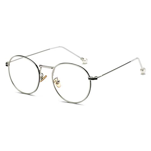 Olprkgdg Anti-Blue Light Glass Pearl Spiegelbeine für Männer und Frauen Brillengestell Anti Blue Light Brille (Color : Silver)